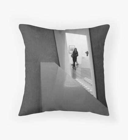 Person in Window at Federation Square Throw Pillow