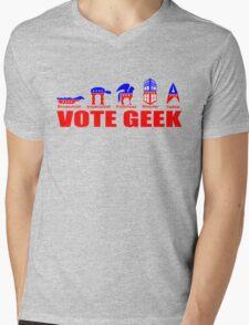 VOTE GEEK Mens V-Neck T-Shirt