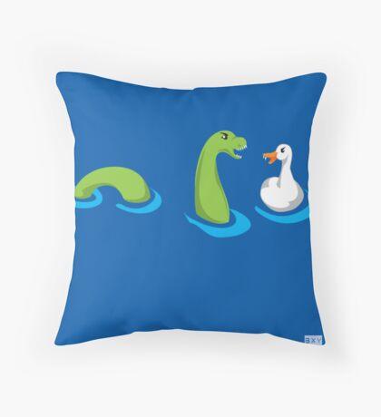 Loch ness duck Throw Pillow