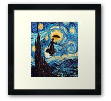 The Flying Lady with an Umbrella Oil Painting Framed Print