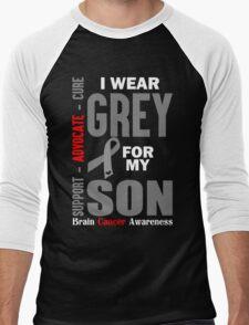 I Wear Grey For My Son (Brain Cancer Awareness) Men's Baseball ¾ T-Shirt
