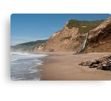 Alamere Falls Beach Waterfall Landscape Canvas Print