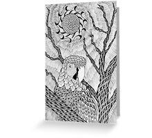 Arara bird and sun in nankin ink Greeting Card