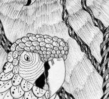 Arara bird and sun in nankin ink Sticker