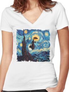 The Flying Lady with an Umbrella Oil Painting Women's Fitted V-Neck T-Shirt