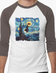 The Flying Lady with an Umbrella Oil Painting Men's Baseball ¾ T-Shirt