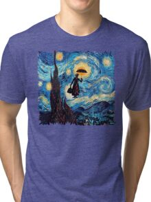 The Flying Lady with an Umbrella Oil Painting Tri-blend T-Shirt