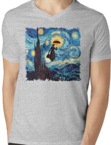 The Flying Lady with an Umbrella Oil Painting Mens V-Neck T-Shirt