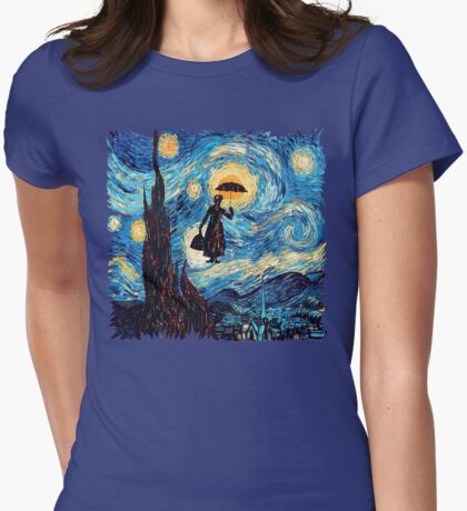 The Flying Lady with an Umbrella Oil Painting Womens Fitted T-Shirt