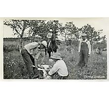 Cowboying in the Old Days Photographic Print