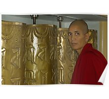 Prayer Wheels and the Monk Poster