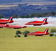 R.A.F. Red Arrows Grouped Low by Richard Hanley www.scotland-postcards.com