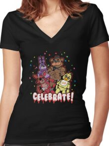Five Nights At Freddy's Celebrate! Women's Fitted V-Neck T-Shirt