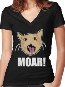Lolcat wants MOAR! Women's Fitted V-Neck T-Shirt