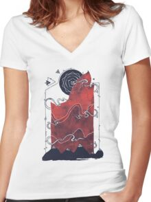 Northern Nightsky Women's Fitted V-Neck T-Shirt