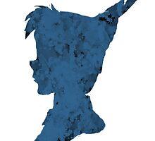 Watercolor Peter Pan Disney Character Shape Dark Blue Splash Design by Alyssa  Clark