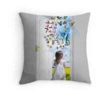 Open the door to your imagination Throw Pillow