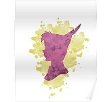 Peter Pan Watercolor Splash Design Pink Yellow Poster