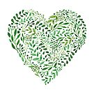 Watercolor  Green branches in heart composition by Tatiakost