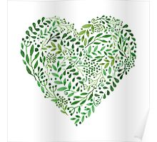 Watercolor  Green branches in heart composition Poster
