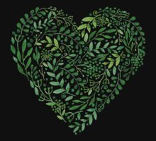 Watercolor  Green branches in heart composition Baby Tee