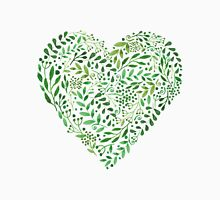 Watercolor  Green branches in heart composition T-Shirt