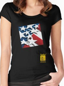 Stars n' Stripes ... Red ... White & Blue Square  Women's Fitted Scoop T-Shirt
