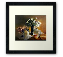 Still life with peach Framed Print