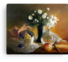 Still life with peach Canvas Print