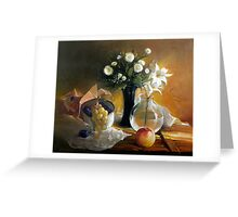 Still life with peach Greeting Card