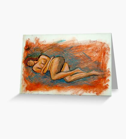 Female Nude - Oil Pastel - Anthony Mitchell Greeting Card
