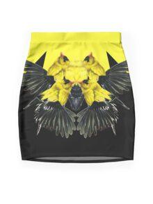 Birds black and yellow Mini Skirt
