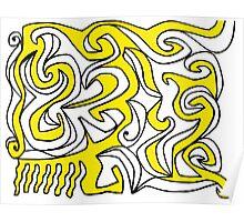 Elixir Abstract Art Yellow Black White Poster