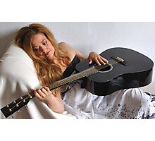 Woman and Black Guitar Portrait Photographic Print