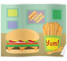 Cheeseburger and French Fries Burger Shop Poster