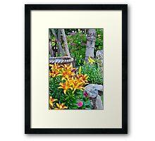 Lily Garden Scene Framed Print