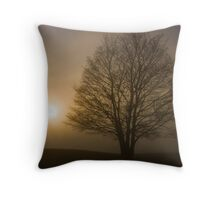 Foggy tree in East Yorkshire Throw Pillow