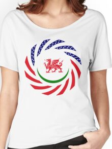 Welsh American Multinational Patriot Flag Series Women's Relaxed Fit T-Shirt