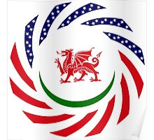Welsh American Multinational Patriot Flag Series Poster