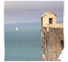 Antibes Fort Carré watch tower over the  sea (France) Poster