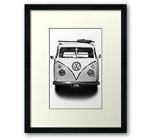 Volkswagen Kombi Newsprint BW © Framed Print