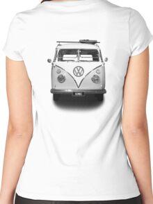 Volkswagen Kombi Newsprint BW © Women's Fitted Scoop T-Shirt