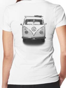 Volkswagen Kombi Newsprint BW © Women's Fitted V-Neck T-Shirt