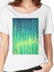 Green Grunge Color Splatter Graffiti Backstreet Wall Background  Women's Relaxed Fit T-Shirt