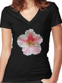 'Pink Azalea Macro' Women's Fitted V-Neck T-Shirt