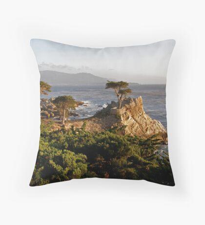 Evening Light on Lone Cypress Throw Pillow