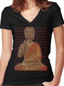 Red & Gold Buddha - Love & Compassion Women's Fitted V-Neck T-Shirt