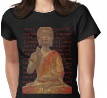 Red & Gold Buddha - Love & Compassion Womens Fitted T-Shirt