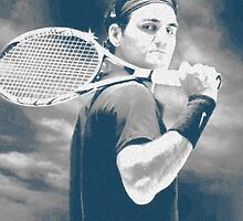 Federer Charcoal Background by Barnsey