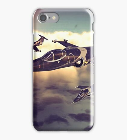 3 Starfighters flying over the ocean - retro iPhone Case/Skin